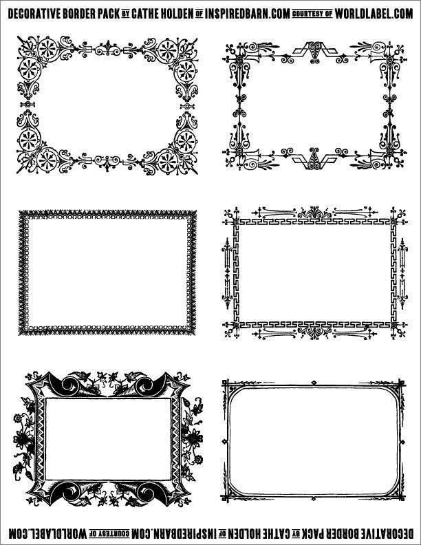 Free Decorative Border Pack Graphics By Cathe Holden Free Printable Labels Templates Label Labels Printables Free Templates Diy Labels Decorative Borders