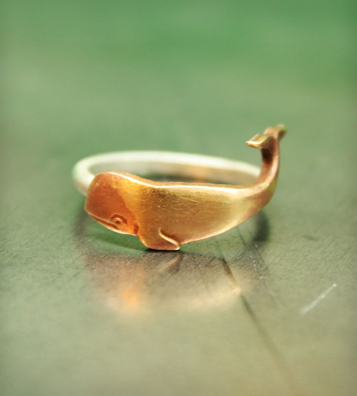 Brass  Sterling Silver Whale Ring