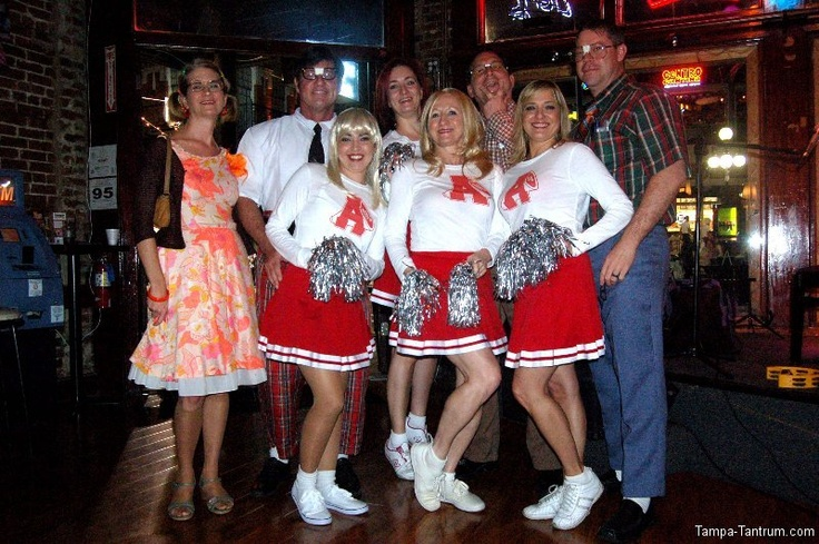 """NERDS! A """"Revenge of the Nerds"""" reunion of sorts gathers for a photo at JJ's Cafe and Bar in Ybor City during Guavaween 2012."""