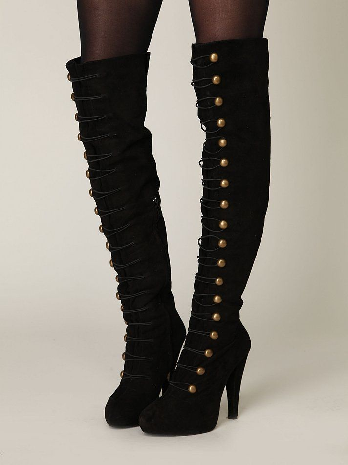 In love with these boots but I hate boots heights that go over the knee, its trashy. I'd buy these, take em to Zink's, and get them cut below the knee. Then these boots will be perfect. Free People Battalion Boot, $370.00