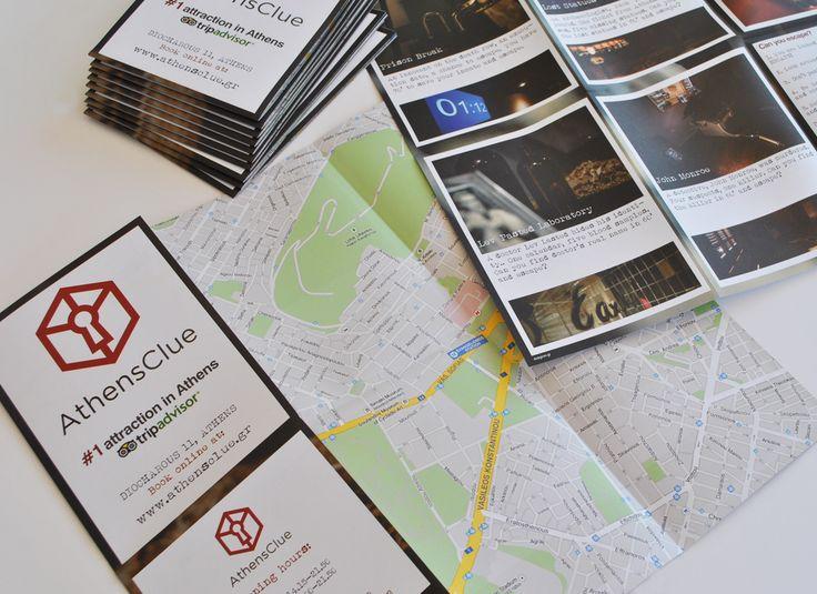 Φυλλάδιο με χάρτη στη μία όψη για διευκόλυνση των τουριστών, για το Athens Clue, το πρώτο παιχνίδι απόδρασης στην Αθήνα