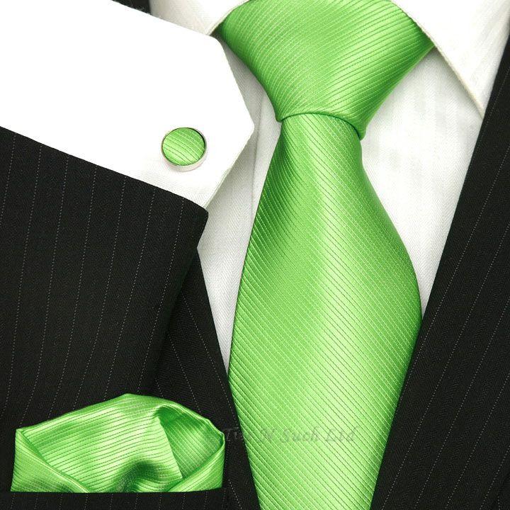 Lime Green Wedding Luxury Silk Tie Set