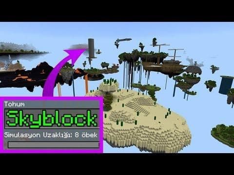 Minecraftta SKYBLOCK Seedi Map - Eğlenceli Video (Minecraft PE Seed