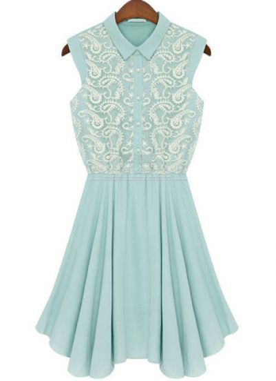 Green Lapel Sleeveless Embroidery Chiffon Dress pictures