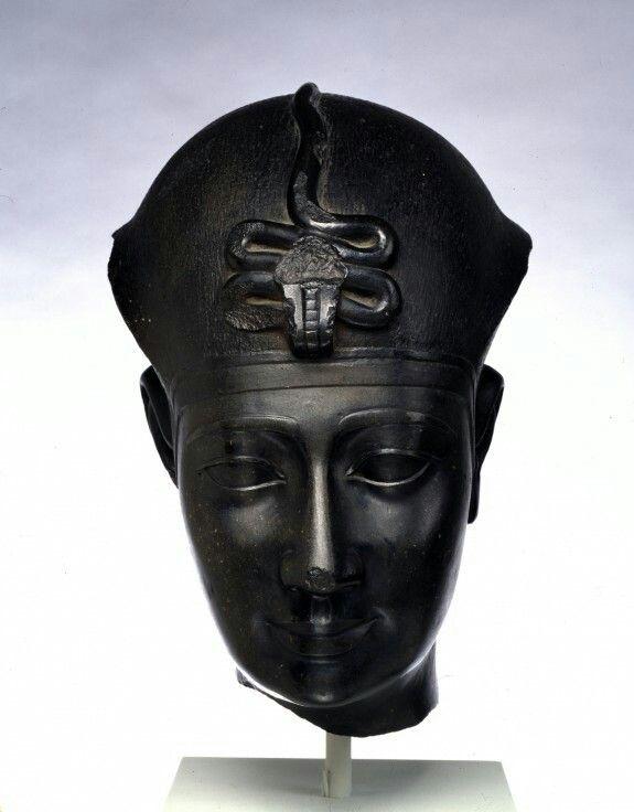 Black granite head of a king. Late Period-Greco-Roman Period. 306-30 B.C. (?) | The Walters Art Museum