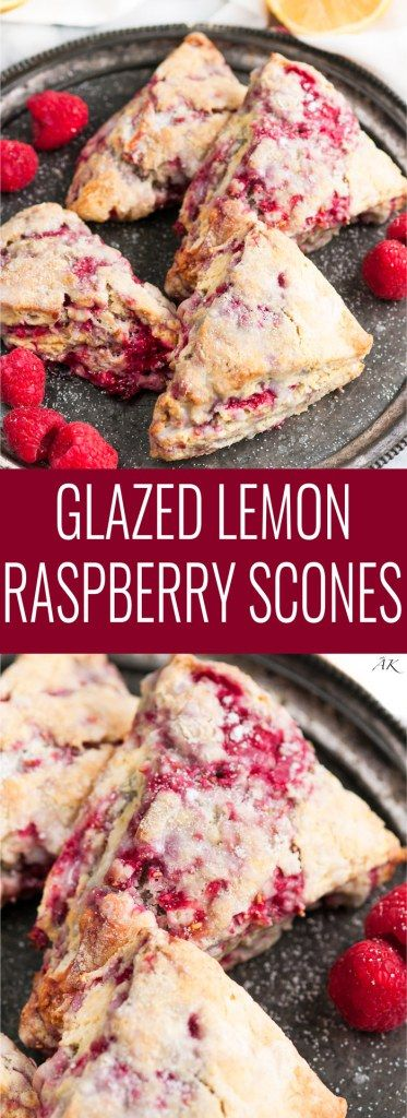 Lemon Raspberry Scones topped with a sweet lemon glaze