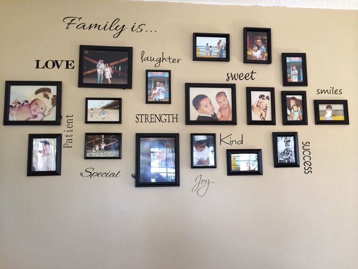 Moreno Silva Family Picture Collage in our living room.