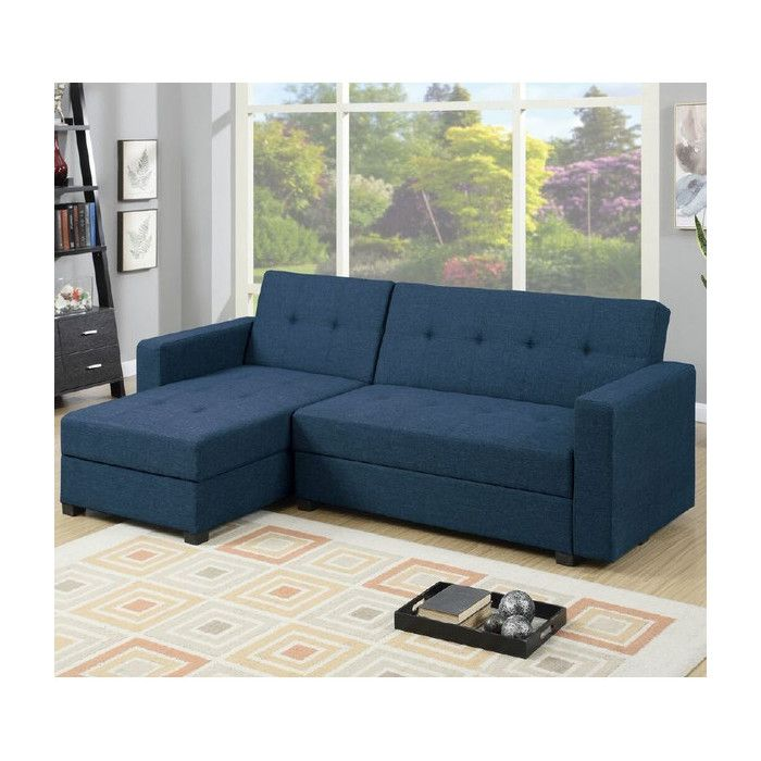 With bold and clean lines, this adjustable sectional sofa doubles as a traditional sectional sofa, a resting unit a storage unit perfect for storing blankets and other personal items. Upholstered by linen-like polyfiber fabric.