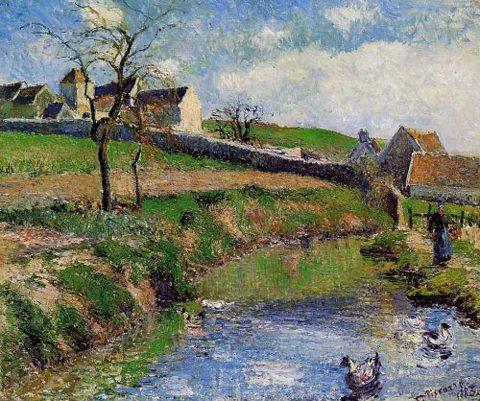 """Camille Pissarro (1830-1903) ~ """"Vue d'une Ferme à Osny (Val d'Oise)"""" ~ Oil 1883"""
