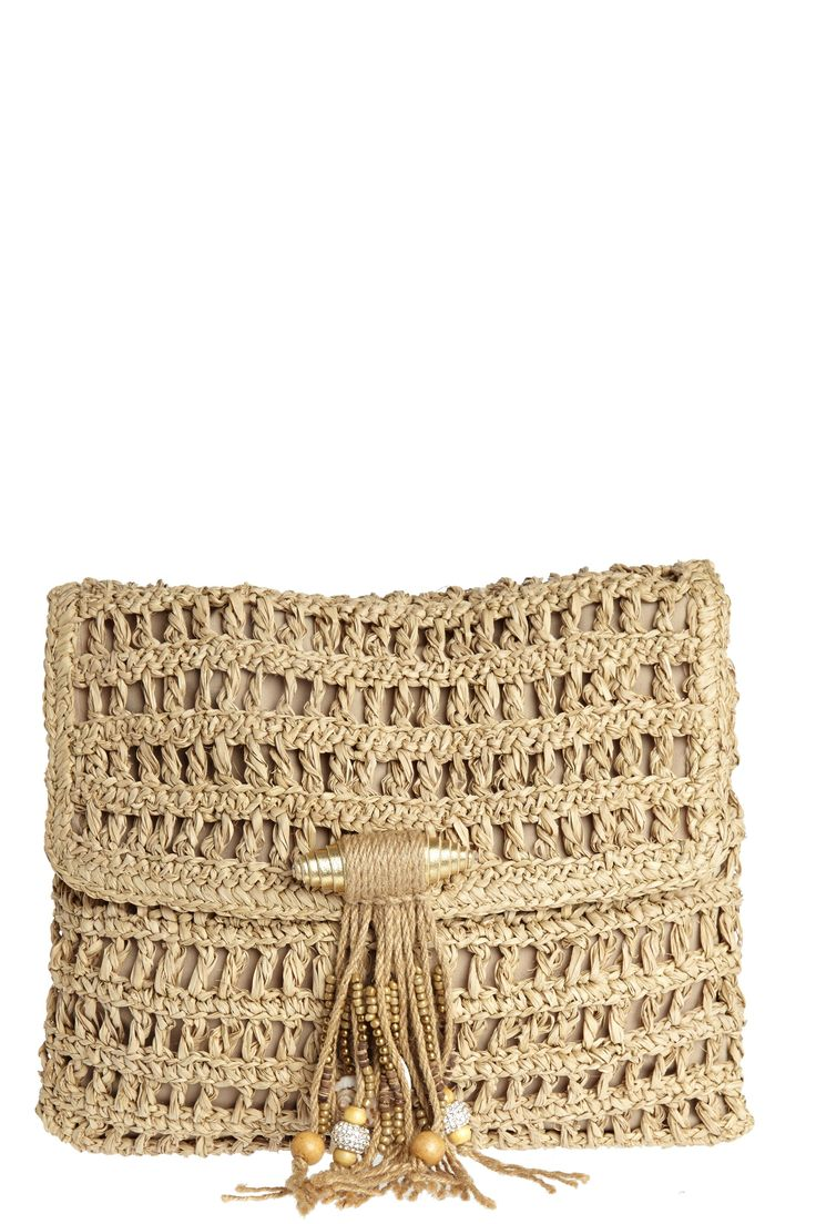 Gypsy Bead Adorned Straw Clutch