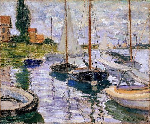 Claude Monet , 1870-1926 : Boats moored at Le Petit-Gennevilliers(Fine Art Museum San Francisco)(54 x 65 cm)