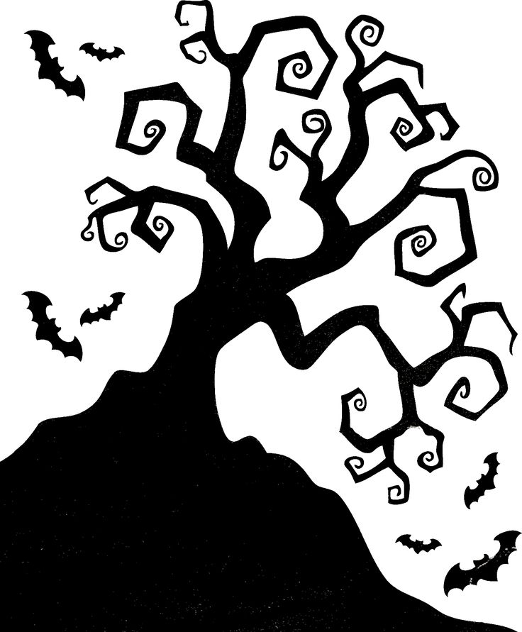 halloween silhouettes spooky silhouette of halloween tree royalty free vector - Halloween Decoration Templates