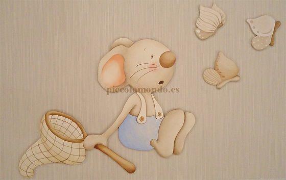 Siluetas madera habitacion bebe http://www.mamidecora.com/decora_pared_picolo_mondo_infantil.htm