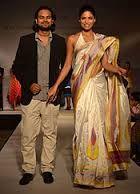 Pochampally Ikat weaves Model with The famous designer Mr.Rahul Mishra.