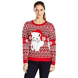 Blizzard Bay Women's Fair Isle Kitty Ugly Christmas Sweater, Red, M