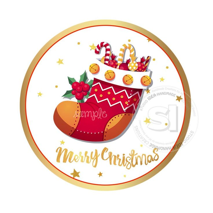 """INSTANT DOWNLOAD- Christmas Wishes-Christmas Sock with candies- Printable 2.5"""" Tag-Merry Christmas  2.5 inches Circle Tags DIY Favor Tags-Stickers"""