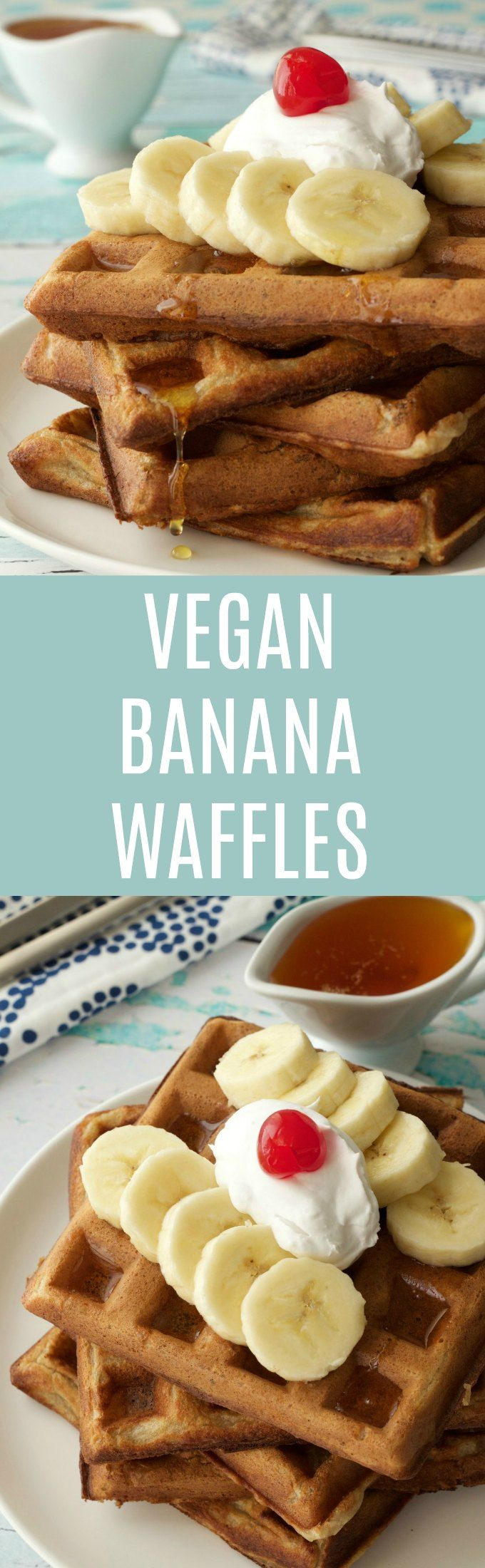 Vegan Banana Waffles - perfect for breakfast served with whipped coconut cream and sliced banana! Vegan | Vegan Breakfast | Vegan Waffles | Vegan Recipes | Dairy Free