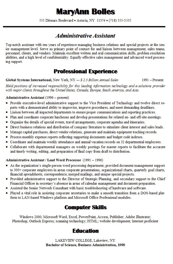 Administrative Assistant Resume  Assistant Manager Job Description Resume