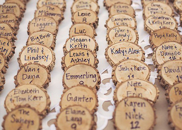 If you go with the centerpieces with wood this would be cute way to put out the table assignments.