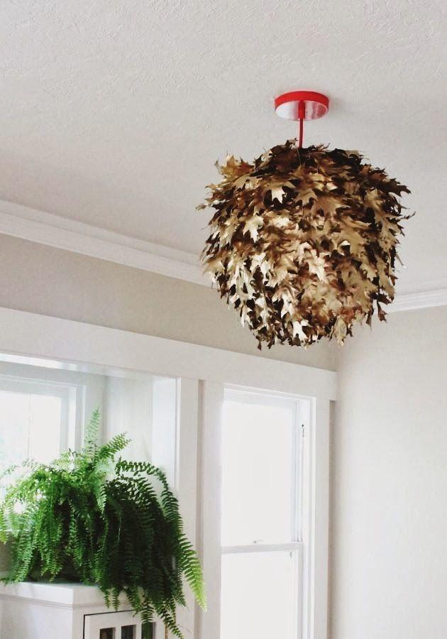 #diy metallic leaf lantern