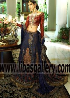 Striking Bridal Lehenga Dress with Magnificent Embellishments for Wedding and Special Occasions - Just said yes? Let the Nilofer Shahid Wedding Madness 2017 begin! Here's how to Shop the dress of your dreams: Tap The link for more of this relaxed and romantic occasion, www.libasgallery.com #UK #USA #Canada #Australia #France #Germany #SaudiArabia #Bahrain #Kuwait #Norway #Sweden #Ireland #Mauritius #Netherland #bridalseason #pinterestbridal #royal #Mughal #bridals #bridaldresses…