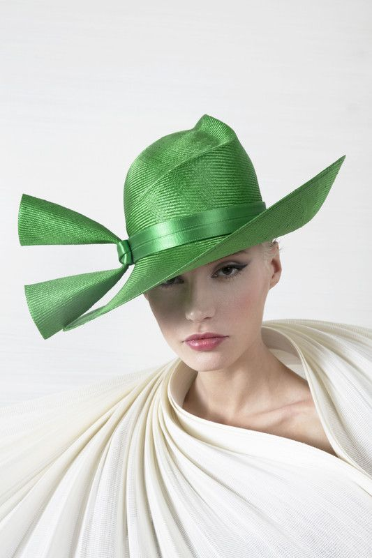 Philip Treacy London | Script Crown | Green and Wide Brim Hats | LOVEHATS.COM