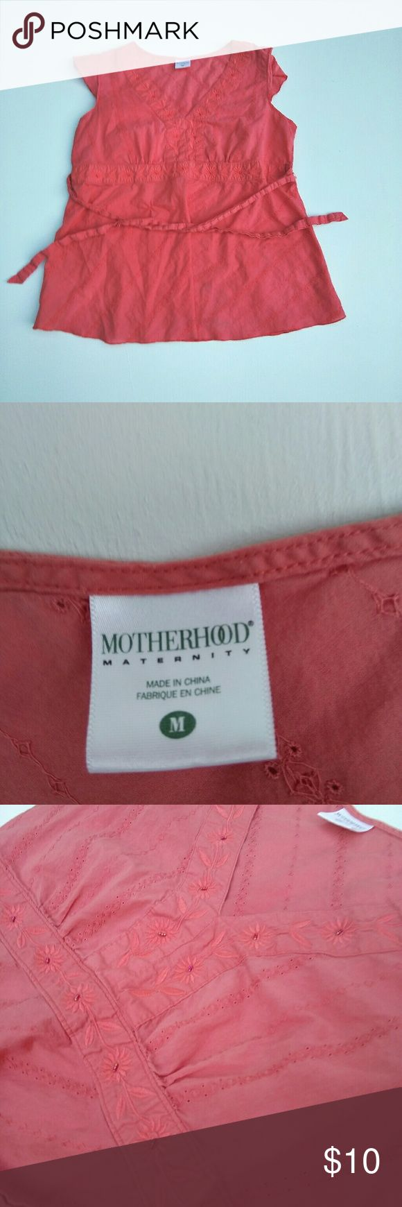 Motherhood Maternity Short Sleeve Shirt (Size: M) Pink motherhood maternity short sleeve shirt. In perfect used condition. No rips or stains. True to color Motherhood Maternity Tops Blouses