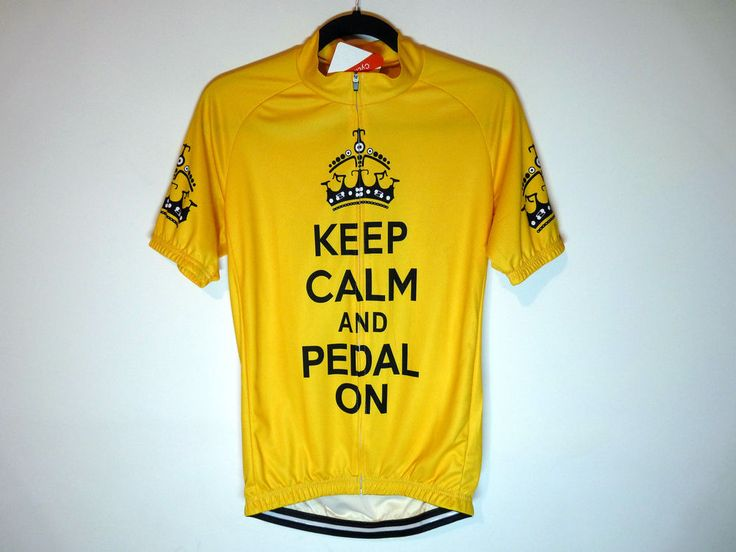 Keep Calm And Pedal On yellow cycling jersey maillot cycliste - NWT - Large
