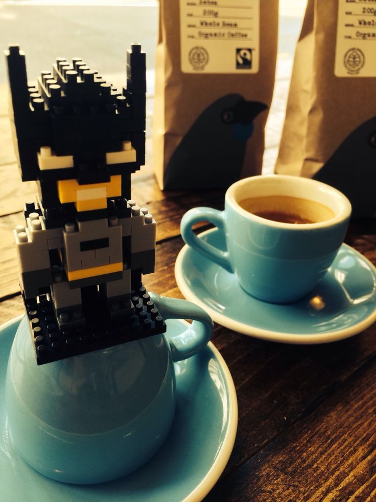 A special guest is enjoying the morning espresso with us. #BATMAN Do you know Batman drinks 50 cups espresso a day to keep him awake at night? #badass  #kokakoorganic #doubleshots  #AssemblingLegoAvengers @kaffeinenz
