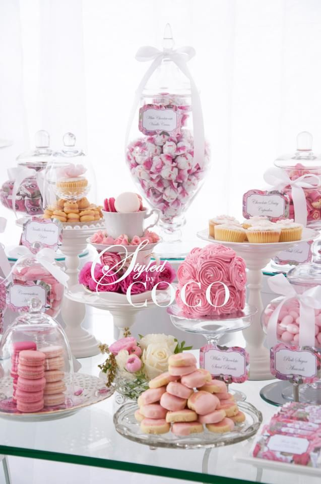 this is how i want me kitchen tea! feminine and lots of goodies! @Jaimee Boone Boone Moore
