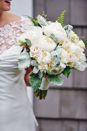 Roses, peonies, ferns, and dusty miller