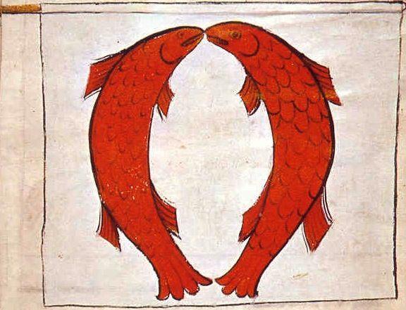 """f°8r,  Banner of the Komturia and Town of Schonsze (Kowalewo) led by Komtur Nicholas Wylcz -- """"Banderia Prutenorum"""", by Jan Dlugosz, 1410"""