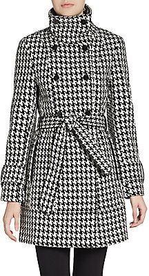 $400, Black and White Houndstooth Coat: Calvin Klein Double Breasted Houndstooth Coat. Sold by Off 5th. Click for more info: https://lookastic.com/women/shop_items/93863/redirect