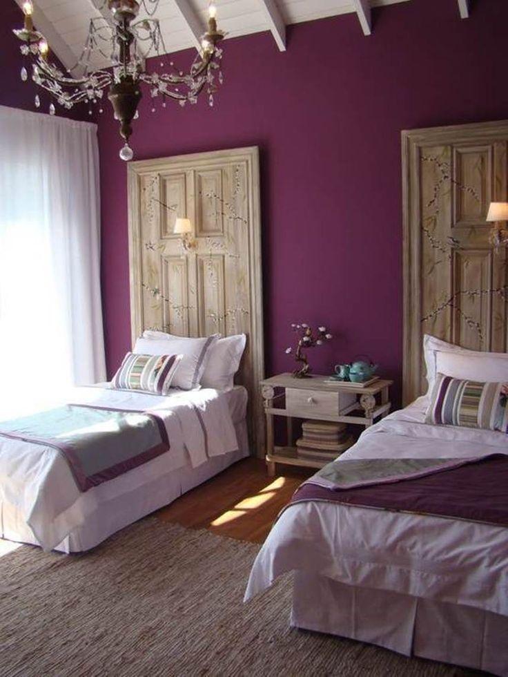 purple bedroom and door headboards
