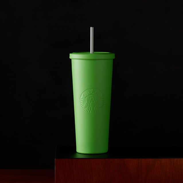Starbucks Stainless Steel Cold Cup Tumbler with matte green exterior and embossed Siren logo. 24 fl oz | Purchase at Starbucks® Store.