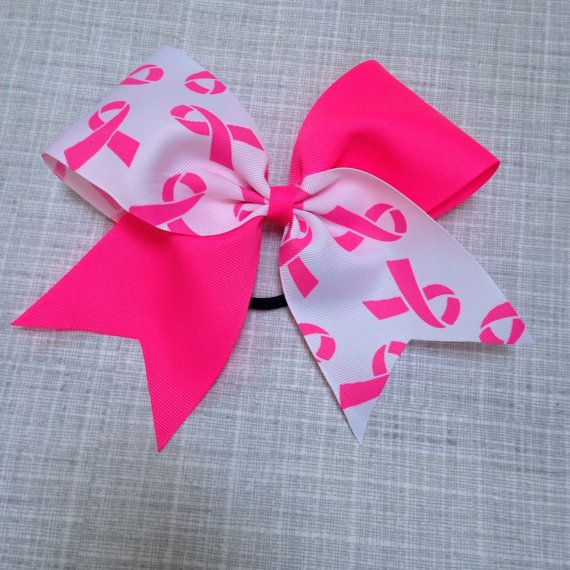 Neon pink Cheer Bow Breast Cancer Awareness by AnnieMaeandWes