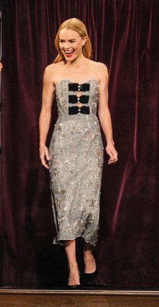 """Kate Bosworth in Erdem makes an appearance on 'The Late Late Show With James Corden"""". #bestdressed"""