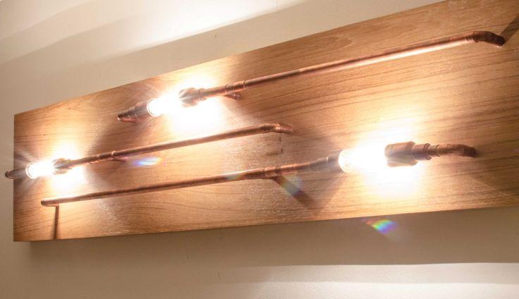 Luminaire en tuyaux de cuivre & boitier en placage de Teck - Les Ateliers Hervé