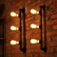 3 огни урожай промышленные сельский железа кованого водопроводный кран трубы настенные бра ретро-бар паб-клуб арт-деко лампа стимпанк