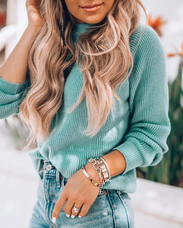 blue mock neck sweater with gold bracelets. Daily Dress Me at dailydressme.com for more inspiration                     women's fashion 2018, fall fas…