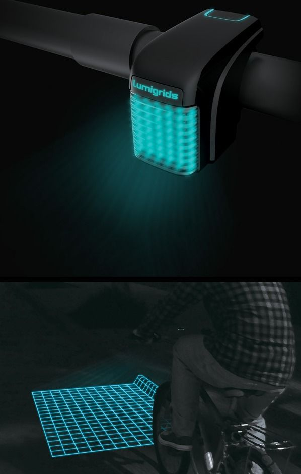 An LED projector for bicycles - safety during night riding. It projects square grids onto the ground and by observing changes in the grids, the rider can easily comprehend the landforms ahead. #device #ideas #inventions #design #innovation #tech #gadgets #techie #solutions #innovative #ingenious #technology #light #safety #cycling