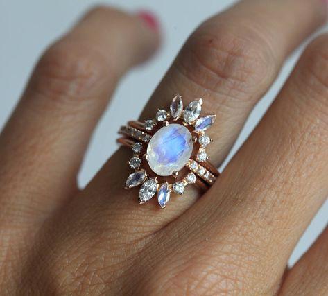 Ice Wedding Ring Set, Moonstone Engagement Ring, Set of 3 Rings, Three Ring Set, Moonstone Wedding Set, Rainbow Moonstone Set, Diamond Set by MinimalVS on Etsy https://www.etsy.com/listing/557951227/ice-wedding-ring-set-moonstone