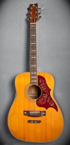 """Pearl Jam Eddie Vedder's Yamaha acoustic guitar. Handwritten notes from the song """"Elderly Woman Behind the Counter in a Small Town"""" taped to the sides. (Hard Rock International)"""