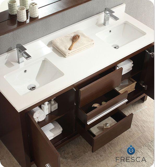 60 inch Modern Double Sink Bathroom Vanity CA285119LES