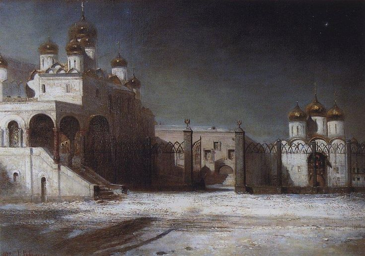 Cathedral Square in the Moscow Kremlin at night - Aleksey Savrasov - WikiArt.org