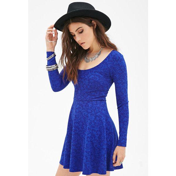 FOREVER 21 Matelassé Skater Dress ($14) ❤ liked on Polyvore featuring dresses, vestidos, royal, blue sleeve dress, full length dress, skater dress, forever 21 and sleeve skater dress