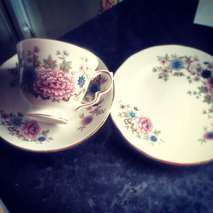 Pretty cup, saucer and plate.