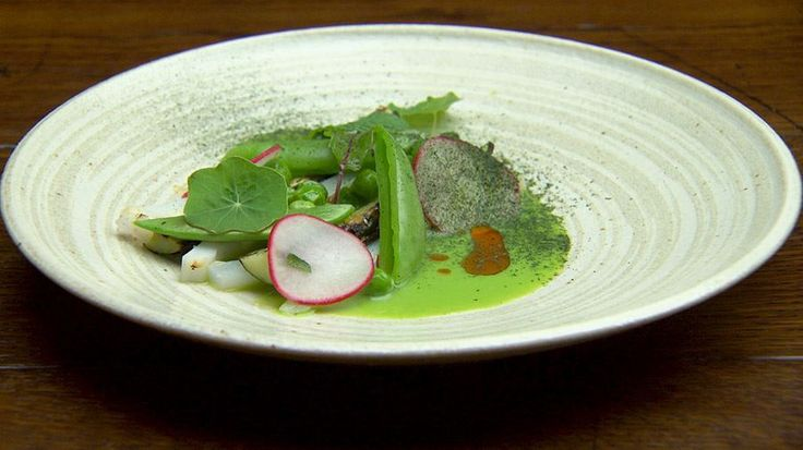 Charred Squid with Cucumber, Peas and Mint
