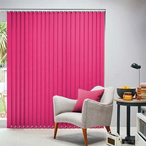 Vibrant shock pink vertical blinds will add a touch of funky fizz to your window.