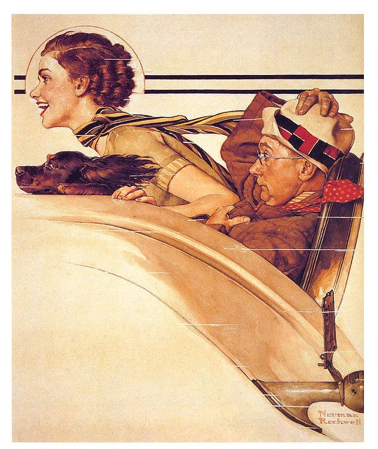 1933--Rumble seat-by Norman Rockwell for the cover of the Saturday Evening Post